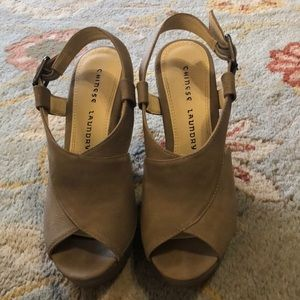 Chinese laundry taupe heels